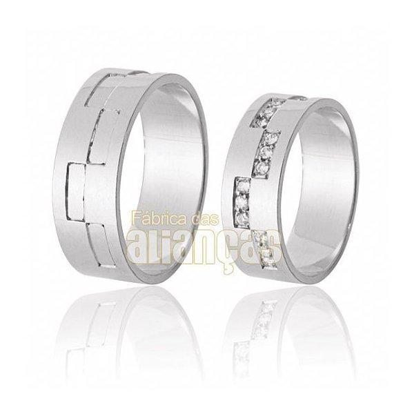 Aliança de Noivado e Casamento em Ouro Branco 18k 0,750 FA-613-B