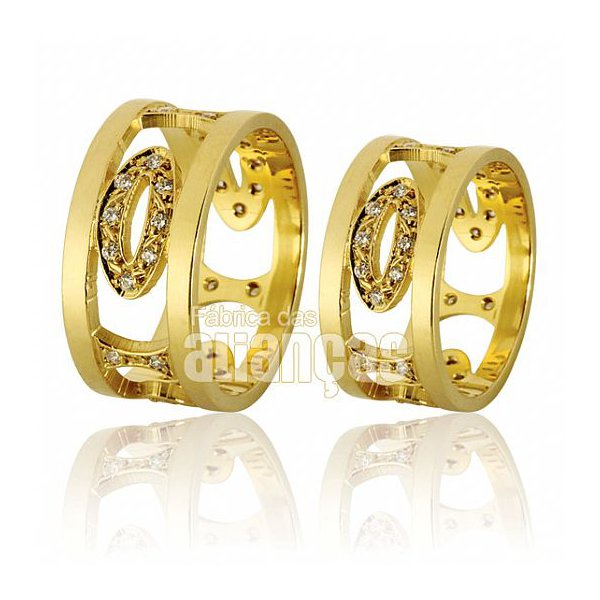 Alianças de Noivado e Casamento em Ouro Amarelo 18k 0,750 FA-616