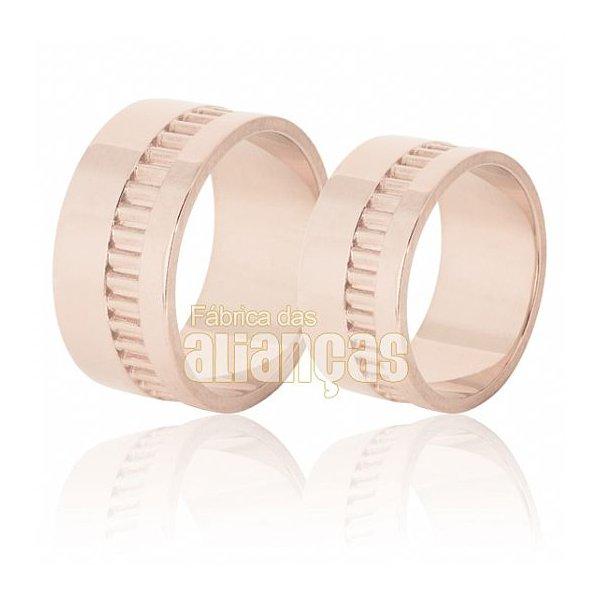 Aliança de Noivado e Casamento em Ouro Rose 18k 0,750 FA-622-R