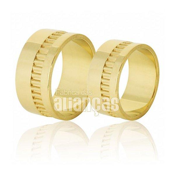 Alianças de Noivado e Casamento em Ouro Amarelo 18k 0,750 FA-622