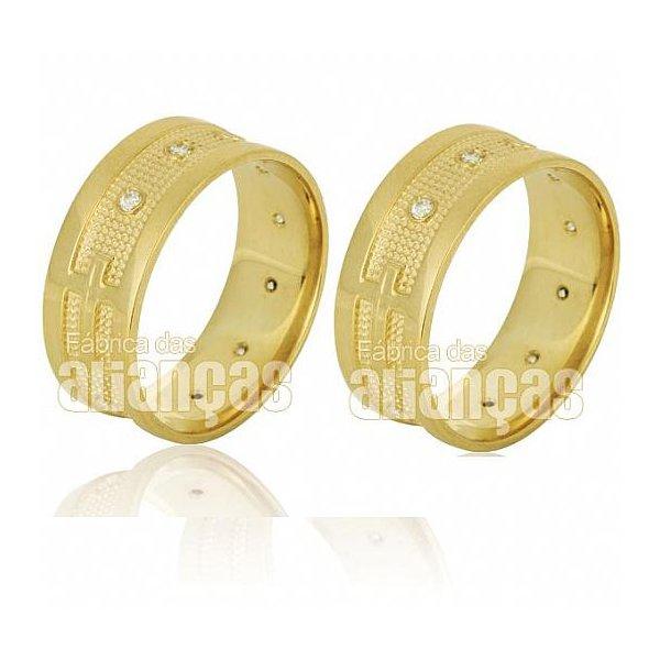 Alianças de Noivado e Casamento em Ouro Amarelo 18k 0,750 FA-624