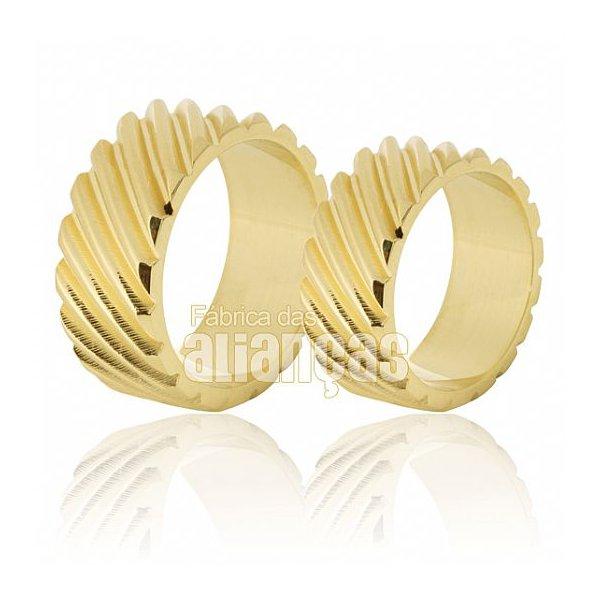 Alianças de Noivado e Casamento em Ouro Amarelo 18k 0,750 FA-625