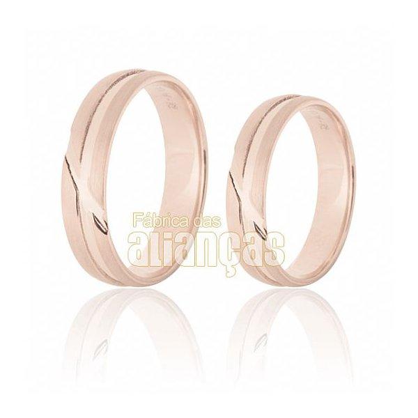 Aliança de Noivado e Casamento em Ouro Rose 18k 0,750 FA-629-R