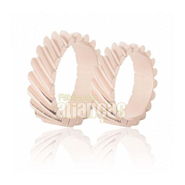 Aliança de Noivado e Casamento em Ouro Rose 18k 0,750 FA-632-R