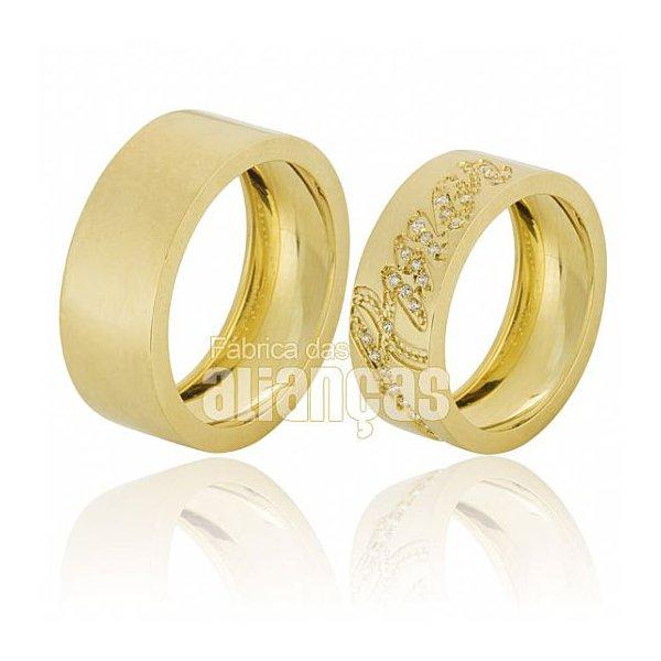 Alianças de Noivado e Casamento em Ouro Amarelo 18k 0,750 FA-650