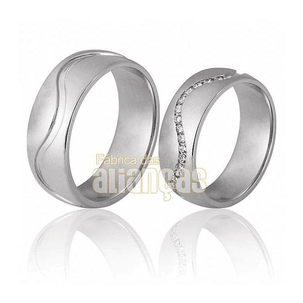 Aliança de Noivado e Casamento em Ouro Branco 18k 0,750 FA-711-B