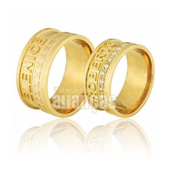 Alianças de Noivado e Casamento em Ouro Amarelo 18k 0,750 FA-713