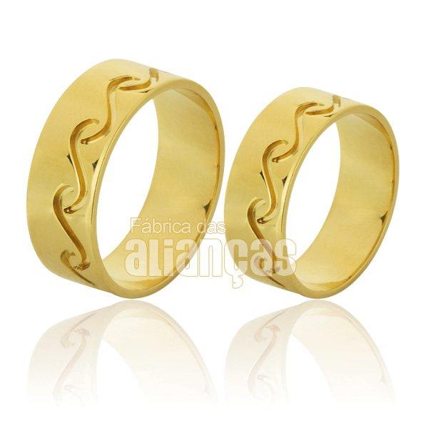 par de aliança personalizada de ouro 18k