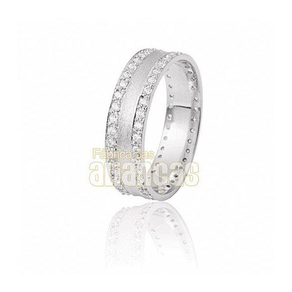 Aparador Para Aliança de Noivado e Casamento em Ouro Branco 18K 0,750 FA-808-U-B