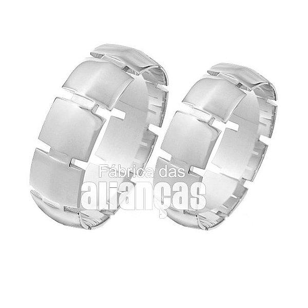 Alianças de Noivado e Casamento em Ouro Branco 18k 0,750 FA-85-B