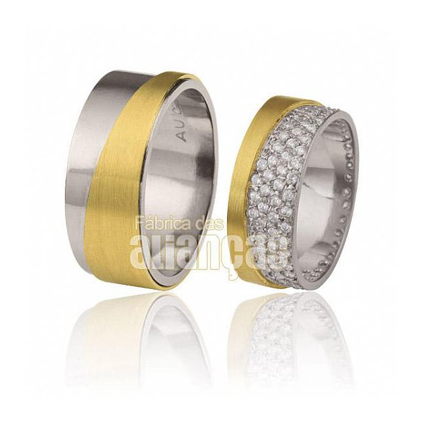 Aliança em ouro branco 18k e detalhes em brilhantes