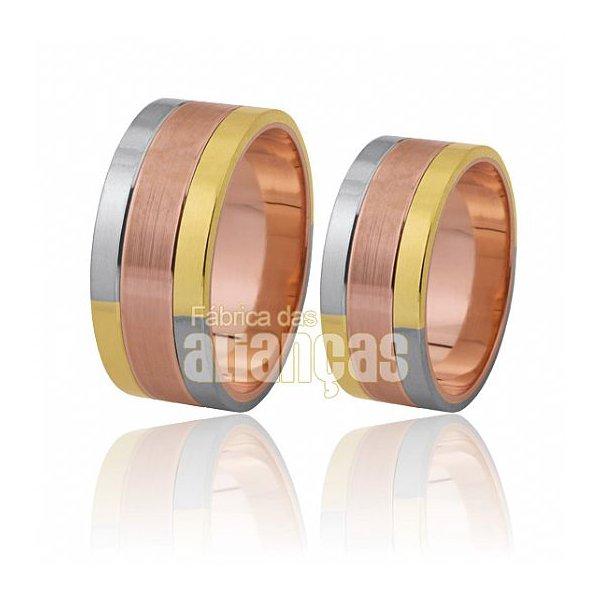 Alianças de Noivado e Casamento em Ouro Amarelo 18k 0,750 FA-309