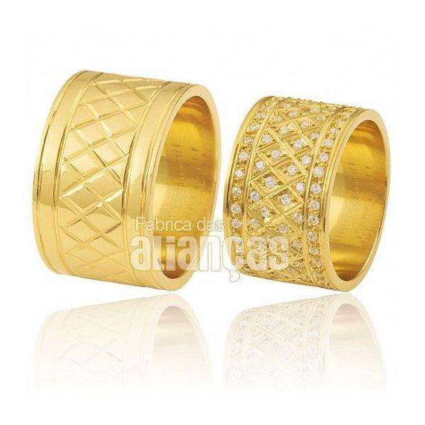 Alianças de Noivado e Casamento em Ouro Amarelo 18k 0,750 FA-373
