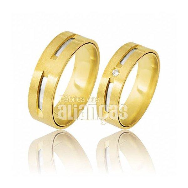 Alianças de Noivado e Casamento em Ouro Amarelo 18k 0,750 FA-391