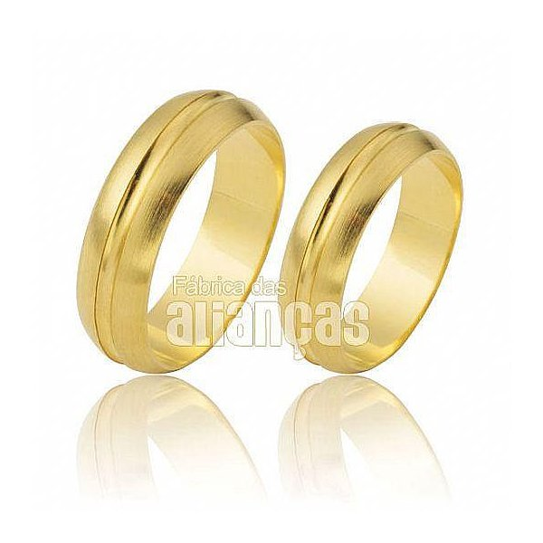 Alianças de Noivado e Casamento em Ouro Amarelo 18k 0,750 FA-479