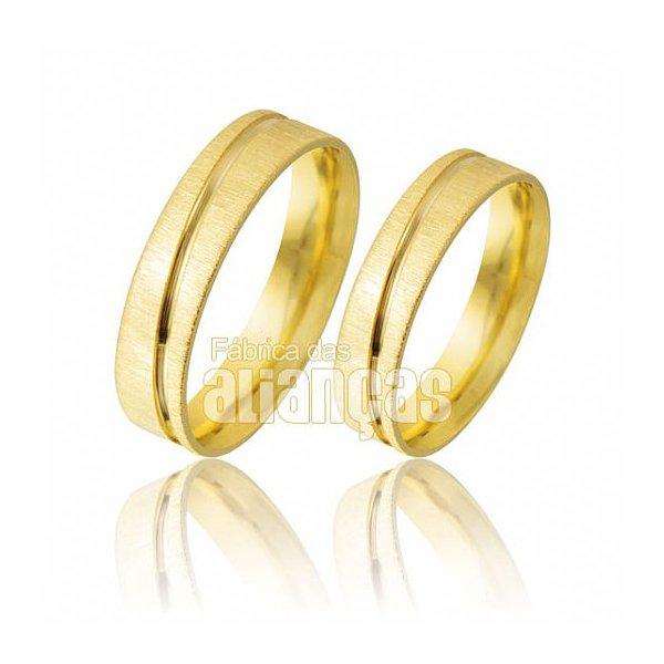 Alianças de Noivado e Casamento em Ouro Amarelo 18k 0,750 FA-484