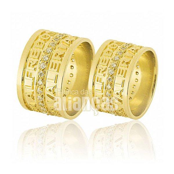 Alianças de Noivado e Casamento em Ouro Amarelo 18k 0,750 FA-597