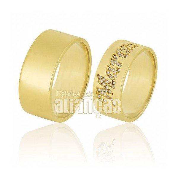 Alianças de Noivado e Casamento em Ouro Amarelo 18k 0,750 FA-605