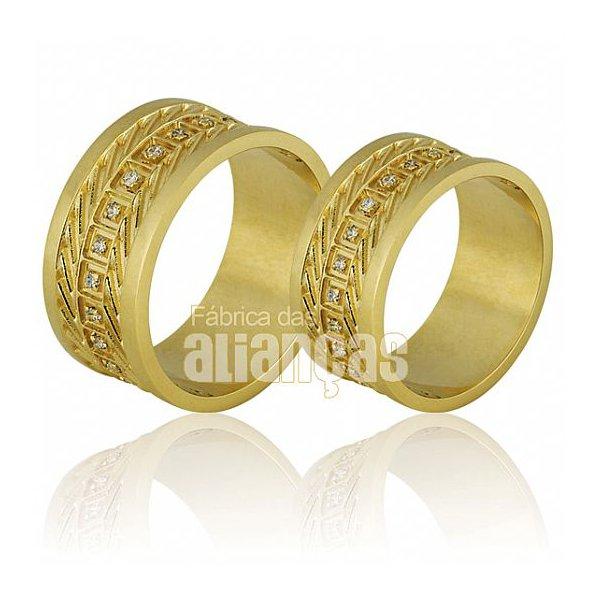 Alianças de Noivado e Casamento em Ouro Amarelo 18k 0,750 FA-698