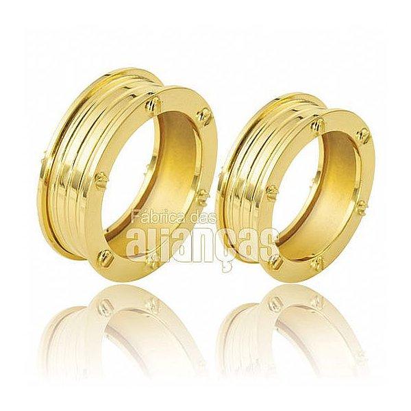 Aliança personalizada em ouro amarelo 18k
