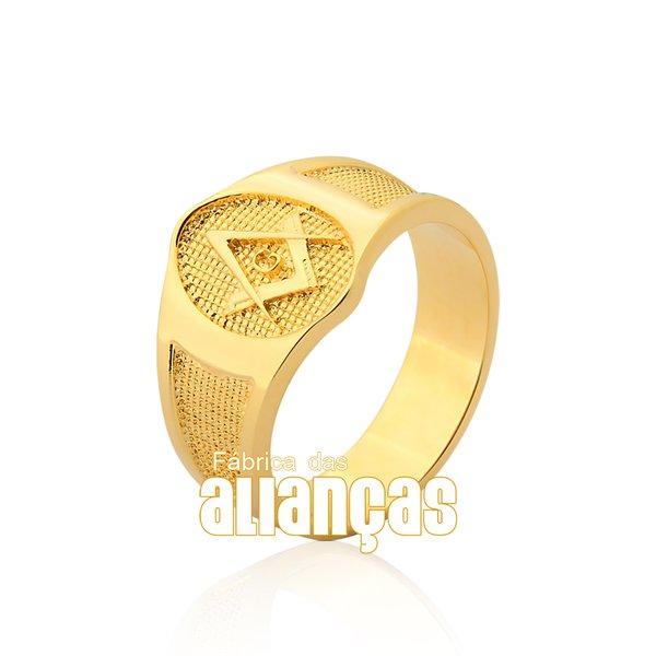 Anel Masculino de Maçonaria em Ouro Amarelo 18k 0,750 A-12