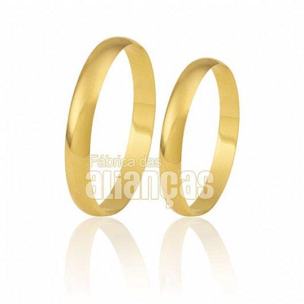 Par de alianças tradicionais ouro 18K