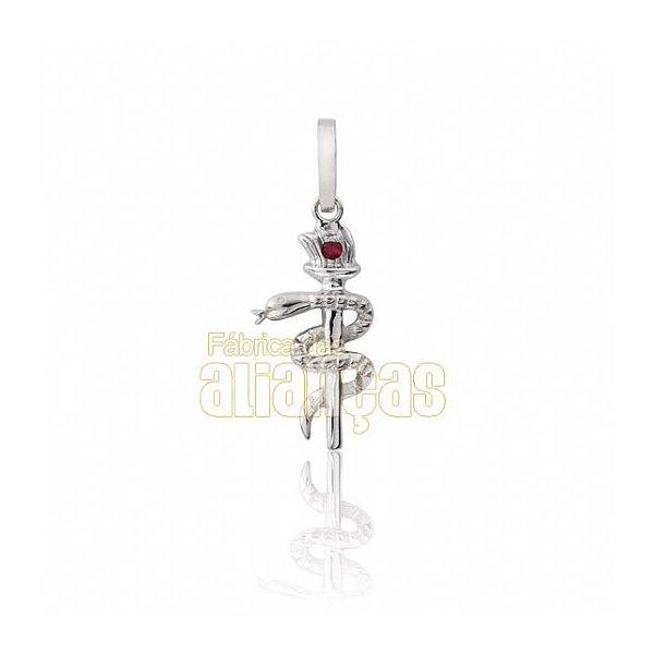 Pingente de Formatura de Odontologia em Ouro Branco 18k 0,750 P-04-B
