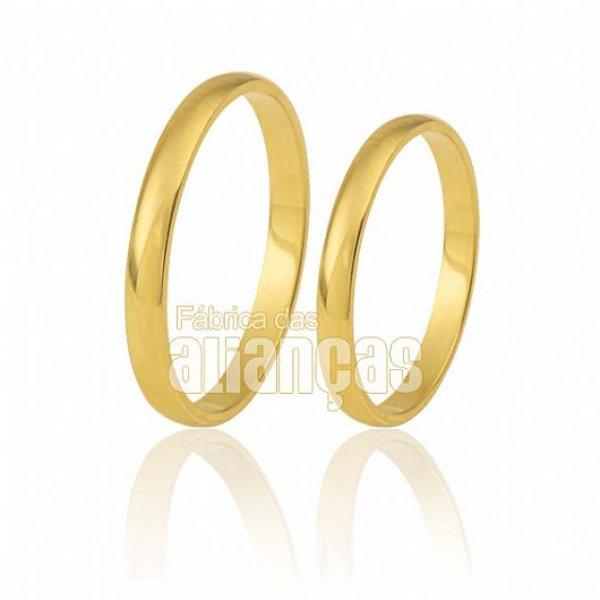 Par de Alianças finas com 2,40 Gramas em ouro 18K