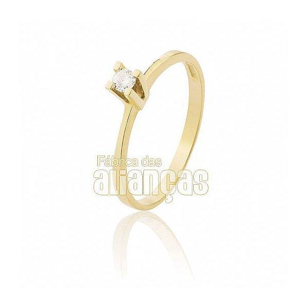Anel Solitário em Ouro Amarelo 18k 0,750 S-10
