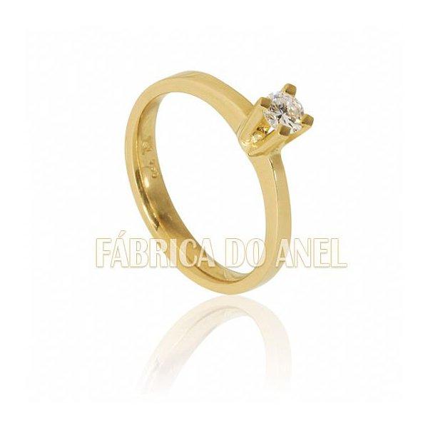 Anel Solitário em Ouro Amarelo 18k 0,750 S-25