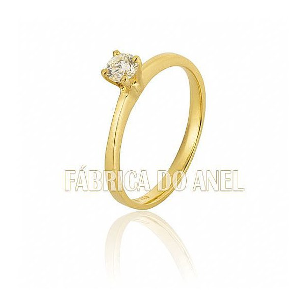 Anel Solitário em Ouro Amarelo 18k 0,750 S-29