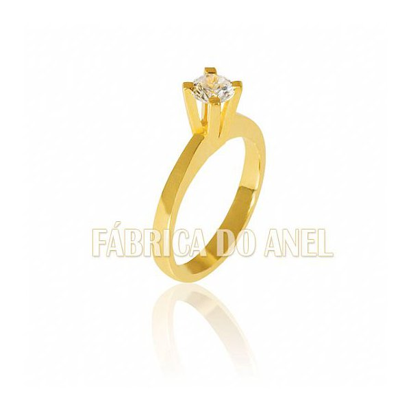 Anel Solitário em Ouro Amarelo 18k 0,750 S-50