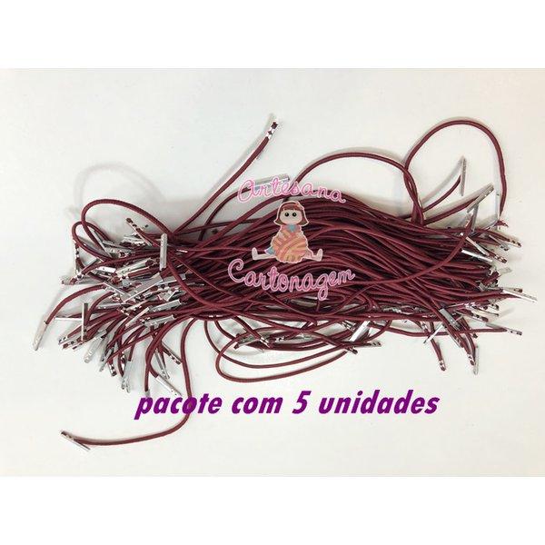 ELÁSTICO ROLIÇO VINHO COM TERMINAL – 5 UNIDADES