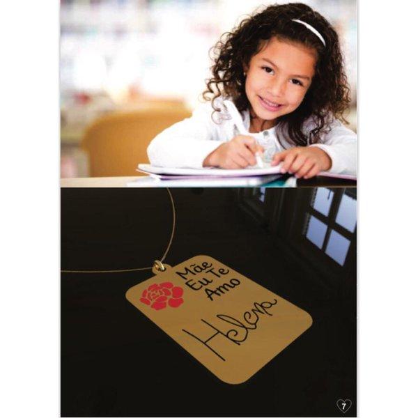 Colar personalizado banhado a ouro placa com escrita de filho (a)
