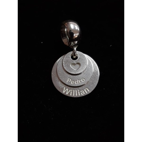 Pingente Berloque em Prata 925 Personalizado Dois Nomes