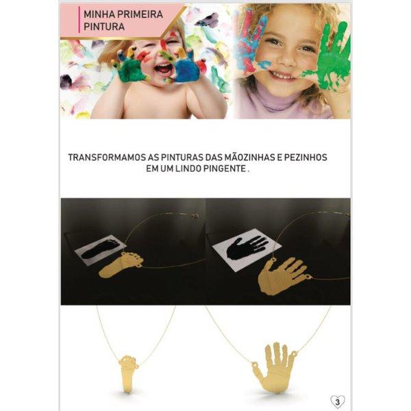 Colar personalizado banhado a ouro pintura mãozinha ou pezinho