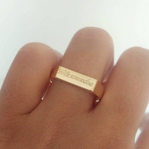 Anel Chapinha Personalizado Nome Gravado em Banho de Ouro