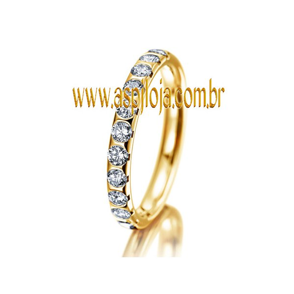 Aliança Diamantada Agregada de Casamento ou Noivado em ouro amarelo 18K liga 750 largura 2,80mm-ASP-AL-09
