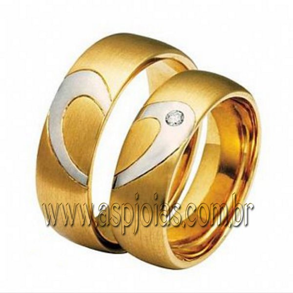 Aliança simbolic coração de casamento ou noivado com diamante em ouro amarelo 18K-750 largura 6,5 mm-ASP-AL-101