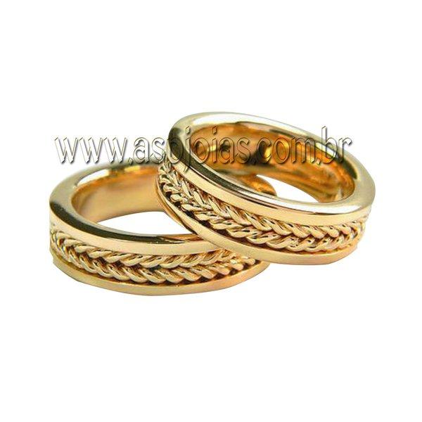 Aliança de casamento ou noivado série correntes em ouro 18K-750 largura 7,0 mm-ASP-AL-104