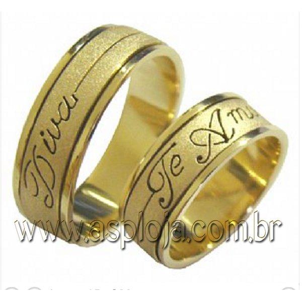 Aliança de casamento ou noivado personalizada em ouro 18K-750 largura 7,0 mm-ASP-AL-105