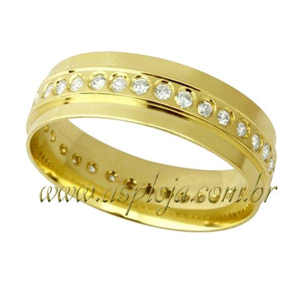 Aliança de casamento ou noivado série diamantes em ouro 18K-750 largura 7,0 mm-ASP-AL-105