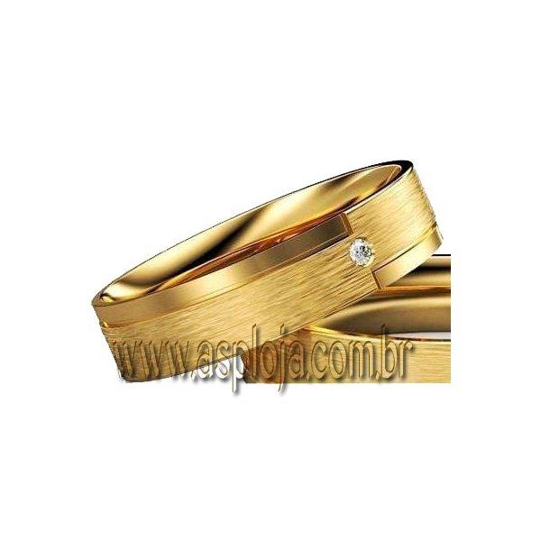 Aliança de casamento ou noivado personalizada em ouro 18K-750 largura 6,0 mm-ASP-AL-108