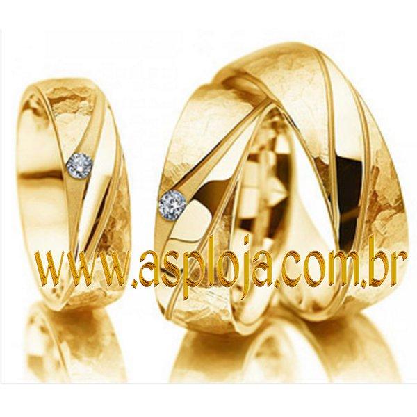 Aliança Individual de casamento ou noivado ouro amarelo 18K 750 anatomica largura 5,5mm-ASP-AL-13