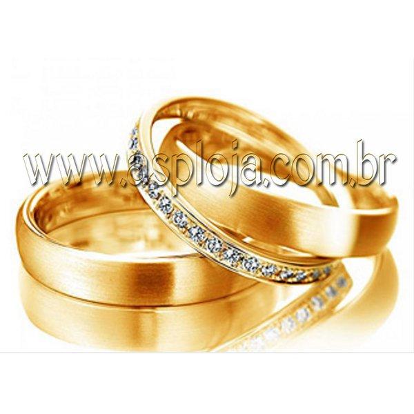 Aliança Condensado diamantes joias anel duplo ouro amarelo 18K 750 de casamento ou noivado largura 8,0mm-ASP-AL-15