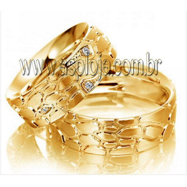 Aliança reptil ouro amarelo 18K 750 de casamento ou noivado largura 7,5mm-ASP-AL-17