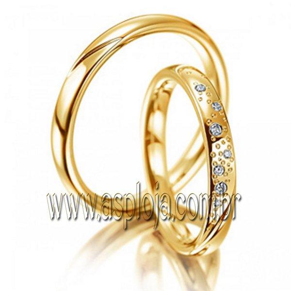 Aliança Romantica laços profundos em ouro amarelo 18K 750 de casamento ou noivado largura 3,0mm-ASP-AL-22