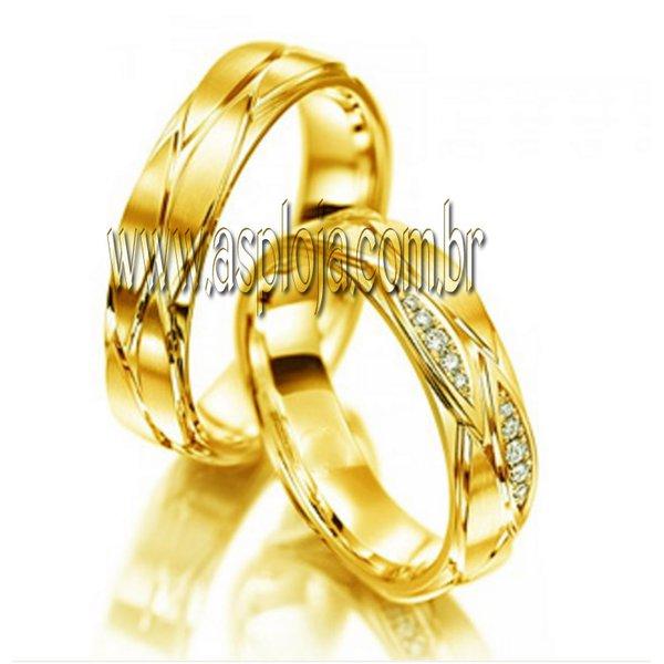 Aliança Condensada de diamantes em ouro amarelo 18K 750 de casamento ou noivado largura 5,0mm-ASP-AL-23