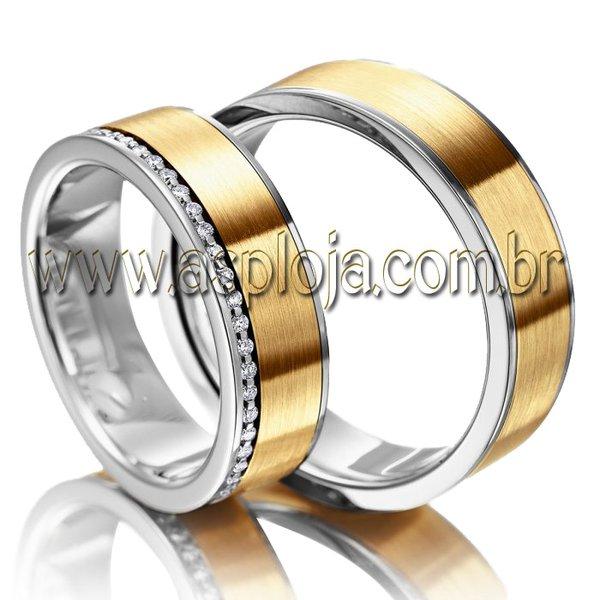 Aliança de Casamento ou Noivado Classica Duo Color semi-anatomica externo reto-ASP-AL-02