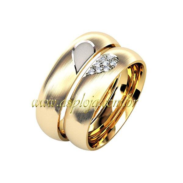 Aliança Coração compartilhado ouro amarelo com detalhes ouro branco 18K 750 anatômica largura 6,0mm-ASP-AL61